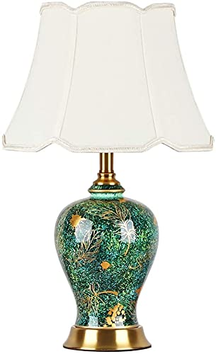 Haojie Lámpara de Mesa de jarrón Verde Luz de Lujo Lámpara de Noche Lámpara de Cama Sala de Estar Gabinete TV Lámpara Decorativa de cerámica Caliente.