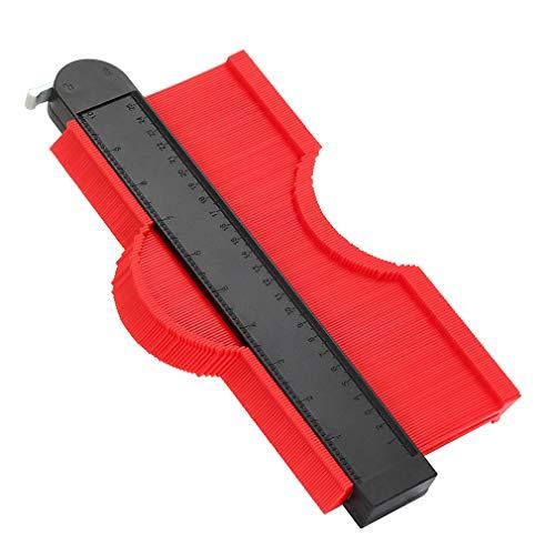 WHATOOK 輪郭ゲージ 型取りゲージ コンターゲージ測定工具 250mm ロック付き 目盛付き 不規則な型取り定規 曲線測定 DIY用測定 ABS樹脂製 赤(レッド)