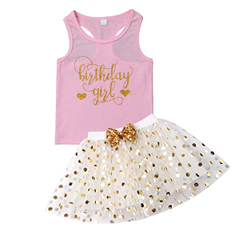 3 Style Baby Girl Gold Letter Print Sleeveless Vest +Gold Sequins Shorts Pants Outfit Set +Bowknot Headband (Pink Skirt, 4-5T)
