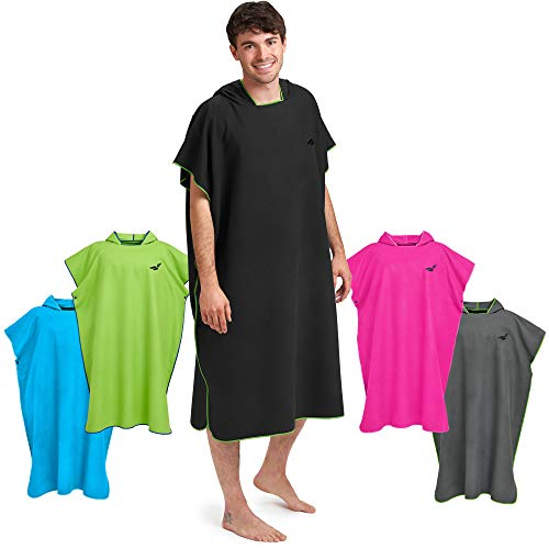 Fit-Flip Umziehhilfe Strand, Surf Poncho, Strandhandtuch Umkleide, Badeumhang, Badetuch Poncho – Größe M, schwarz/grün