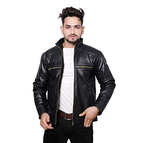 nida Casual Shine Leather Jackets for Mens and boy Men Jacket Black