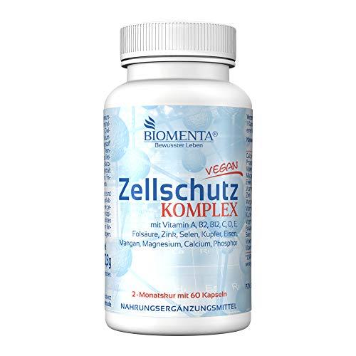 BIOMENTA Complejo de Protección Celular | con vitaminas A, B, C, D, E + manganeso + cobre + hierro + calcio + magnesio + zinc + selenio + fósforo | 60 cápsulas antioxidantes | por dos meses
