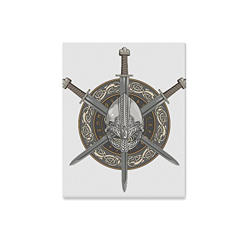 Canvas Print Wall Art Viking Helmet Sword And Shield Modern Oil Painting Wall Painting Canvas Painting Picture Prints Home Decor 20X16 Inch