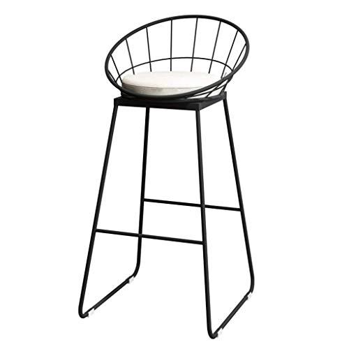 Tabourets de bar en fer forgé à la mode, support de bar, tabouret de cuisine, chaise de petit-déjeuner, chaise avec dossier, pieds noirs, support en éponge blanche (hauteur du siège: 65 / 75CM)