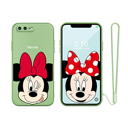 for iPhone 7 Plus Case, iPhone 8 Plus Case,Slim Cartoon Kids Girls TPU Soft Straight Edge Liquid Silicone Shockproof Protector Cover for Apple iPhone 8 Plus/7 Plus 5.5'' Free Lanyard Gift