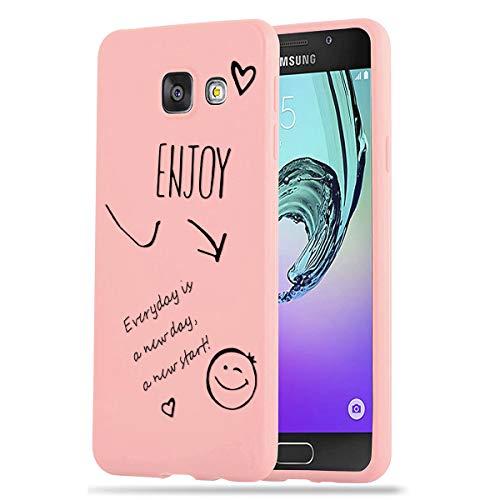 Zhuofan Plus Cover Samsung Galaxy A5 2016, Custodia Silicone Rosa Soft Tpu Gel con Design Print Pattern Antigraffio Antiurto Protactive Cover per Samsung Galaxy A5 2016, Godere