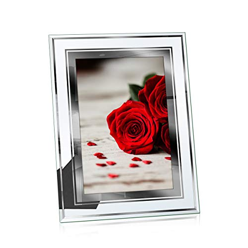 NUOLAN 8x10 Picture Frame Desk Glass Mirror Photo Frames, Nice Gift for -