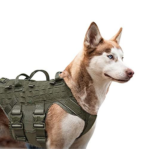 PETAC GEAR Tactical Dog Harness K9 Working Dog Vest Military Dog Training Harness Police Service Dog Vest for Small Medium Large Dog Ranger Green M