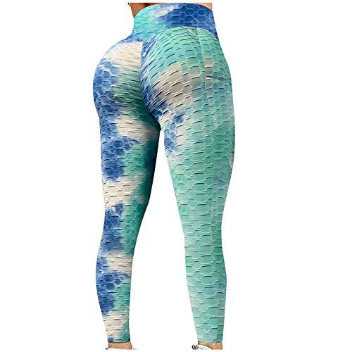 ZGMA Mallas con Bolsillos de Deporte para Mujer Push up Tie Dye Bubble Pantalones Leggins Secado rápido Deportivos de Cintura Alta Elásticos para Yoga Running