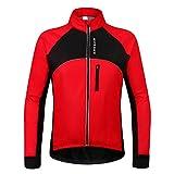 WOSAWE Chaqueta de Ciclismo para Hombre Prueba de Viento Térmico Manga Larga MTB Chaquetas para Invierno Otoño (BC254 Rojo S)