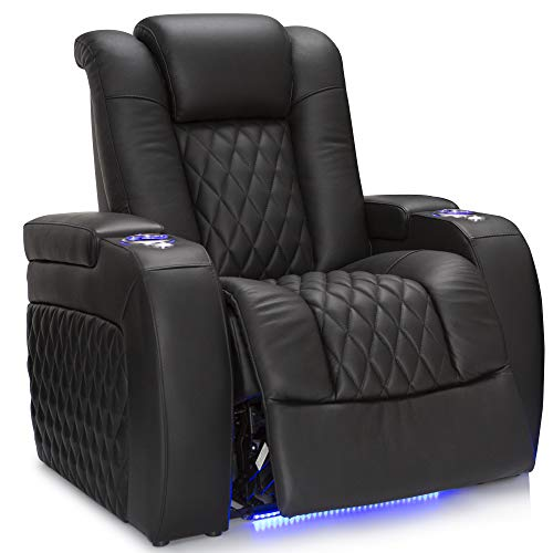 Seatcraft Diamante - Home Theater Seating - Power Recline - Top Grain Leather - Powered Headrests - Cupholders - USB Charging -...