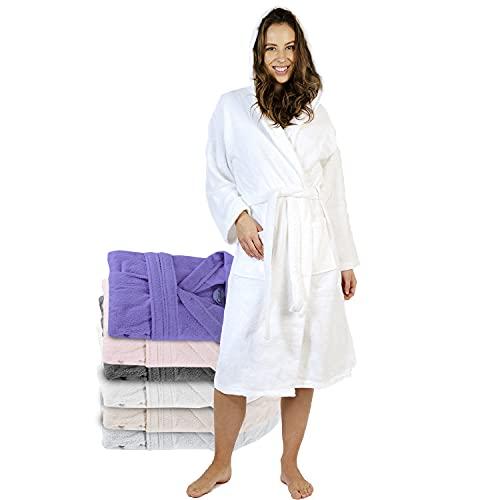 Twinzen Albornoz de Baño 100% Algodón con Capucha para Mujer (XS, Blanco Alabastro) Certificado Oeko Tex - Bata Mujer 2 Bolsillos, Cinturón y Cierre - Suave, Absorbente y Cómodo.