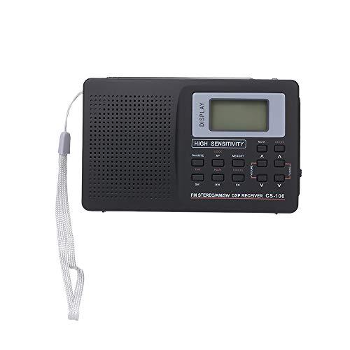 Andoer Rádio FM/AM/SW portátil Multibanda Receptor de Rádio Estéreo Digital Fone de Ouvido Tempo de Saída Display Antena Externa com Função de Despertador