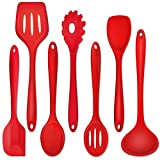 Kitchen Utensil Set of 7, P&P CHEF Silicone Cooking Utensils, Red Kitchen Tools Spatula Set for Nonstick Cookware Cooking Serving, Slotted Turner, Soup Ladle, Spatula, Pasta Server, Spoon