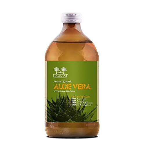 SUCCO DI ALOE VERA Salugea 0030 100% Puro e Naturale - Integratore detox, antiossidante e depurante, supporta digestione e difese immunitarie - 500 ml - Flacone in vetro scuro farmaceutico