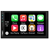 Automodz Apple CarPlay Double Din Car Stereo, 7 Inch Display with Bluetooth, Remote