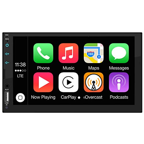Automodz Apple CarPlay Double Din Car Stereo, 7 Inch Display with Bluetooth, Remote, GPS, USB Port,...