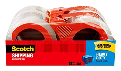 """Scotch Heavy Duty Packaging Tape, 1.88"""" x 54.6 yd, Designed for Packing, Shipping and Mailing, 3M Industrial Strength Adhesive, 3"""" Core, Clear, 4 Rolls (3850-4RD)"""