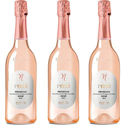 Prosecco Doc Rosè | Ponte | Bollicine Pregiate Italiane | Millesimato Brut | 3 Bottiglie 75cl | Idea Regalo