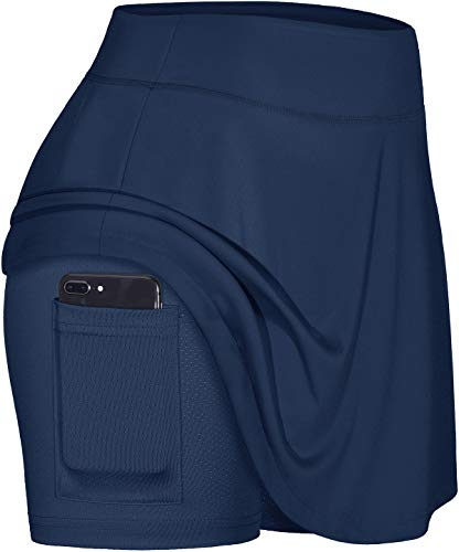 Blevonh Golf Skirts for Women,Plus-Size Sports Skorts Ladies Stretchy Waistband Pleated Hem Tennis Skirt with Leggings Summer Relaxed Exercise Fitness Active Wear Navy Blue XL