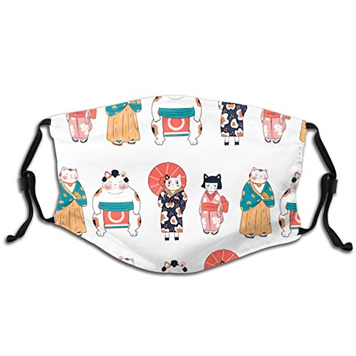 Various Cats Dressed in Traditional Japanese Clothes. Face Mask with Replaceable Filters Activated Carbon Mask for Farmer Hunting, Motorcycle Washable Breathable Adjustable