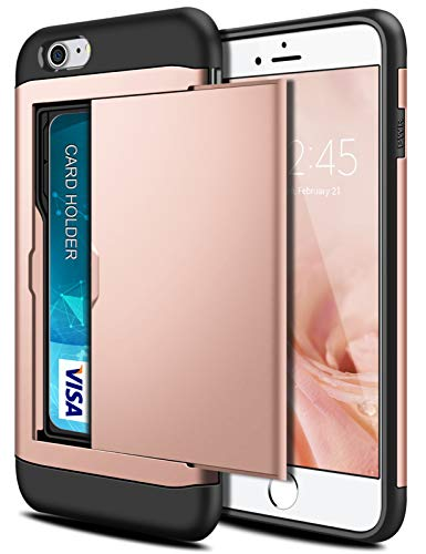 SAMONPOW Wallet Case for iPhone 7 Case with Card Holder Dual Layer Hybrid Heavy Duty Protection Shockproof Anti Scratch Soft Rubber Case for iPhone 7 iPhone 8 iPhone SE(2020) 4.7 inch Rose Gold