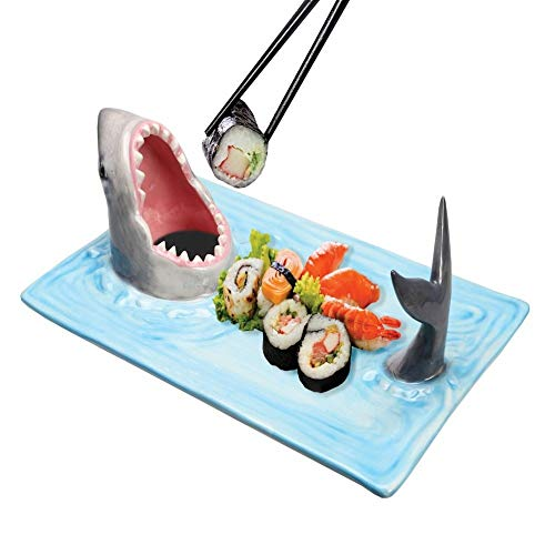 What On Earth Shark Attack Sushi Platter - Hand-Painted Ceramic Food Serving Tray with Soy Sauce Holder and Chopstick Rest