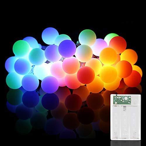 Led Kugel Lichterkette, Zorara 10M 80 LEDs Globe Lichterketten Batteriebetrieben Weihnachten Drahtlichterkette Innen Außen für Zimmer Balkon Party Hochzeit Kinderzimmer Weihnachtsbaum (Bunt, 10M)