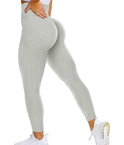 SLIMBELLE Leggings push up para mujer, pantalones de deporte con bolsillos, cintura alta, pantalones de yoga, pantalones de fitness, pantalones de gimnasio para entrenamiento y tiempo libre #2 Gris L