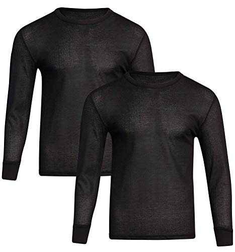 Fourcast Big Men's Thermal Pajama Top - Plus Sized Base Layer Long Sleeve Waffle T-Shirt (2 Pack), Black, Size X-Large