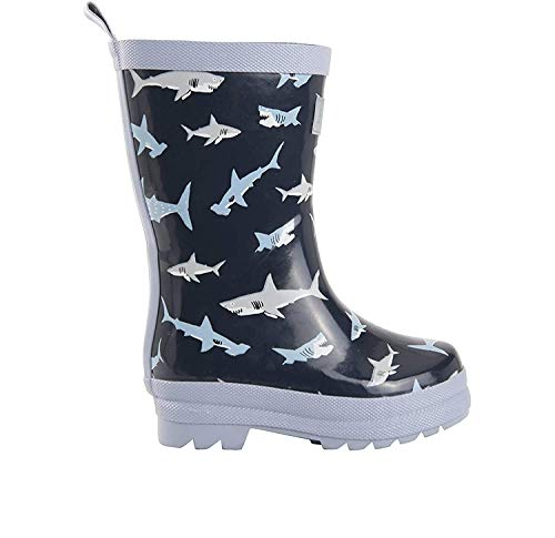 Hatley Jungen Rain Boot Gummistiefel, Blau (Shark Frenzy), 27 EU(10 US Child / 9 UK Child)