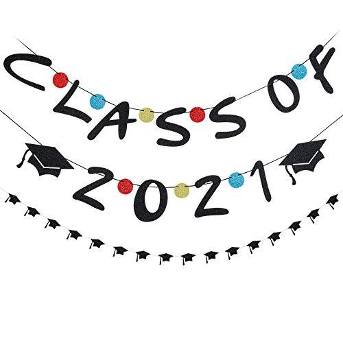 Black Graduation Decorations - Black Glitter Class of 2021 Banner and Black Glitter Graduation Cap Banner, Graduation Banner 2021,Graduation Party Supplies 2021,Graduation Party Decorations 2021