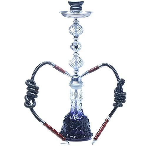 Hookah cachimba Shisha con jarrón de Cristal Café Juego de Tubos Shisha Black Shisha, con 2 mangueras Manguera cachimba, Hookah Shisha Set