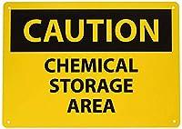 安全標識-注意-化学薬品保管エリア。インチ金属錫サインUV保護および耐候性、通知警告サイン