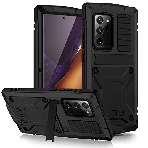 qichenlu 2 Meter Stoßfest Schwarz Note 20 Ultra 5G Rundumschutz Case,mit Displayschutz Ständer Metall hybrid Silikon Gehäuse Wasserabweisend Hülle für Samsung Galaxy Note 20 Ultra 5G