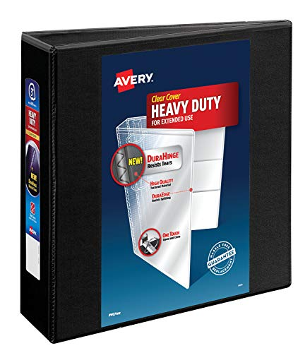 AVERY Heavy-Duty View Binder, 3 One-Touch Rings, 670-Sheet Capacity, DuraHinge Black (79693), 3""