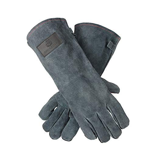 OZERO 932°F(500℃) Heat Resistant Welding Gloves 14 inches Long Sleeve Leather BBQ Grill Glove Oven Mitts for Tig/Mig Welder/Pot Holder/Baking/Fireplace/Stove - Gray