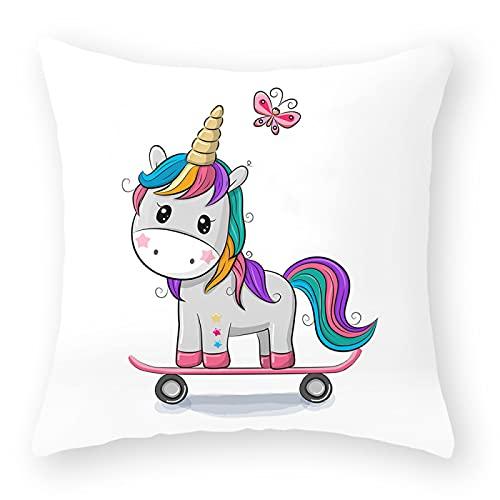 MissW Funda De Almohada Decorativa con Estampado De Pony Lindo De Dibujos Animados Sin Núcleo De Almohada con Funda De Almohada Lavable con Cremallera para Sofá De Oficina
