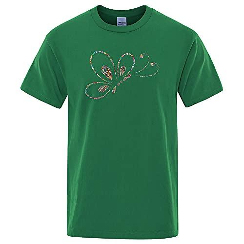 Camisetas Hombre, Hombres O Cuello Creativo Y Divertido Algodón De La Camiseta De Manga Corta Transpirable, Colorido Estampado De Mariposa Tops Camisetas Cómoda Transpiración Verano Fitness Runnin