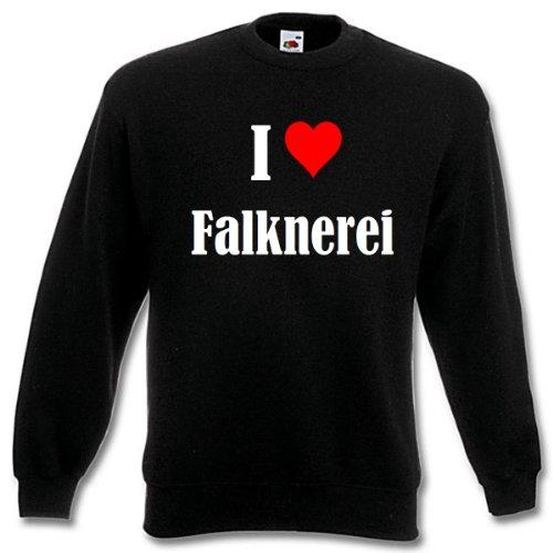 Reifen-Markt Sudadera I Love Falknerei para mujer, hombre y niños en los colores negro, blanco y azul con impresión Negro Medium