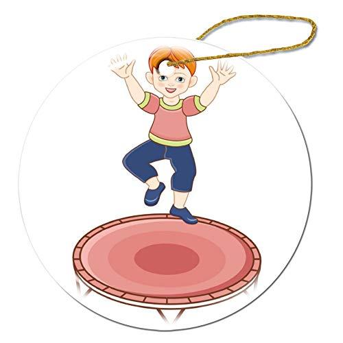 wendana plat roodharige jongen springen in trampoline ronde keramische kerst ornamenten Keepsake ornamenten kerstboom decoraties Kerstmis geschenken voor kinderen vrouwen tiener meisjes
