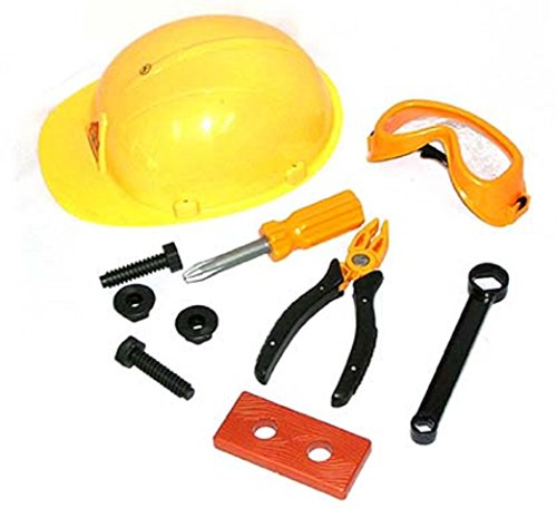 10 Piece Construction Worker Hard Hat Helmet Toy Tools Play Set Costume Child