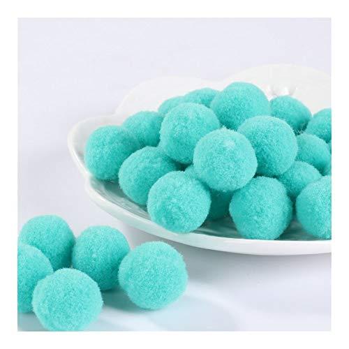 JIAHUI Pompones suaves pompones de felpa esponjosa para manualidades con pompón, bola de furball para decoración del hogar (color: azul menta, tamaño: 30 mm, 10 g, 10 unidades)