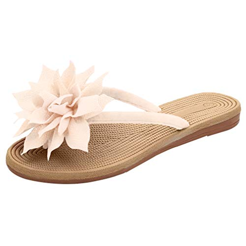 N.N.G Women Summer Flip Flops Big Flower Fashion Beach Sandals Under 20 Beige 8.5