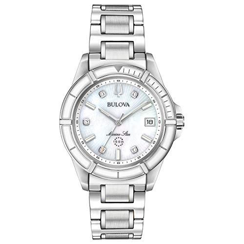 Bulova Reloj de cuarzo para mujer Marine Star 96P201 de acero inoxidable con diamantes, plata y esmalte blanco
