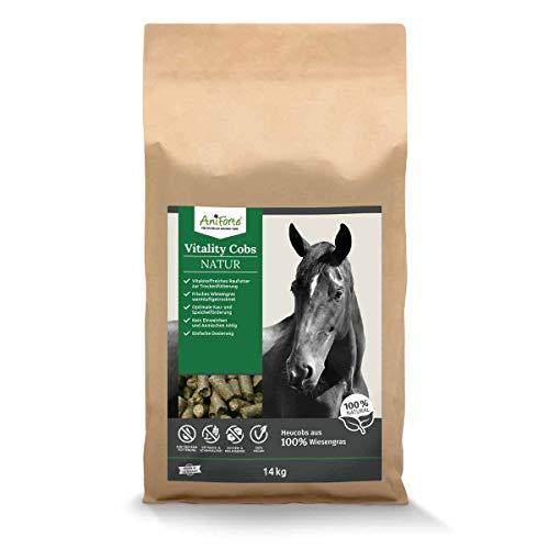 AniForte Natur Heucobs Pferd 14kg - Vitality Cobs, Raufutter zur Trockenfütterung, Heuersatz, Pferdefutter ohne Einweichen oder Anmischen, optimale Kau- & Speichelförderung, Grascobs staubarm