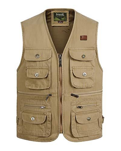 Daoba Herren Funktionsweste Multi-Taschened Weste Freizeit Jacke mit Reißverschluss Jagd und Angler Fotografie Wandern Weste Camping Vest (Khaki, XXL)
