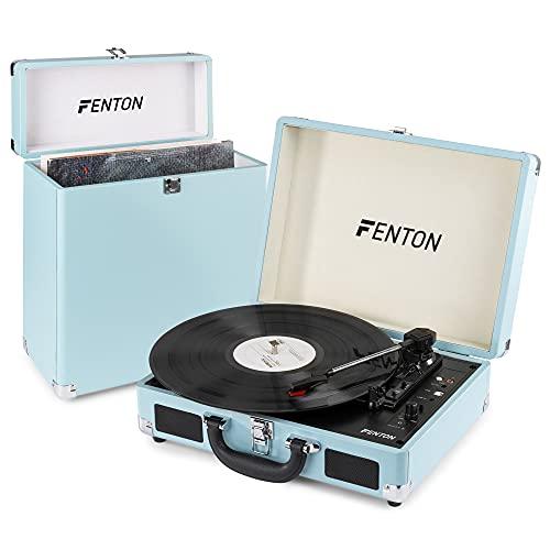 Fenton RP115 Platine Vinyle Vintage avec Valise de Rangement - Bleu, fonctionnalité Bluetooth, Tourne Disque avec Haut-parleurs intégrés, pour disques 33, 45 et 78 Tours, Facile à Transporter