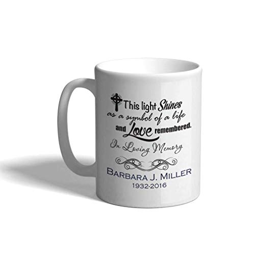 Taza de café personalizada, 11 onzas, conmemorativa, esta luz brilla, símbolo, vida, duelo, día conmemorativo, taza de té