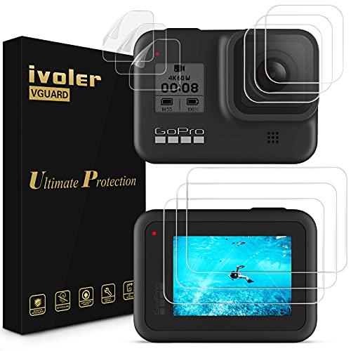 ivoler 9 Unidades Protector de Pantalla para GoPro Hero 8 Black, 3X Cristal Templado para LCD Pantalla, 3X Vidrio Templado para Lente, 3X HD Protector de Pantalla para Pequeña Pantalla Frontal